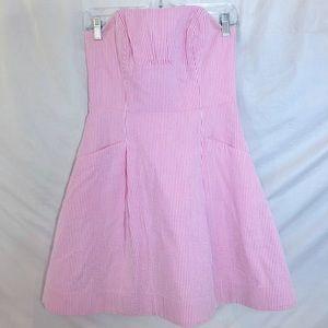 Lilly Pulitzer Strapless Pink searsucker dress SZ2